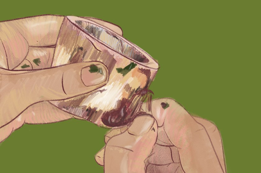 Image: Illustrated close-up of a pair of hands picking at meat and parsley remnants from a hollow bone in front of a flat olive-green backdrop. Illustration by Kiki Dupont.