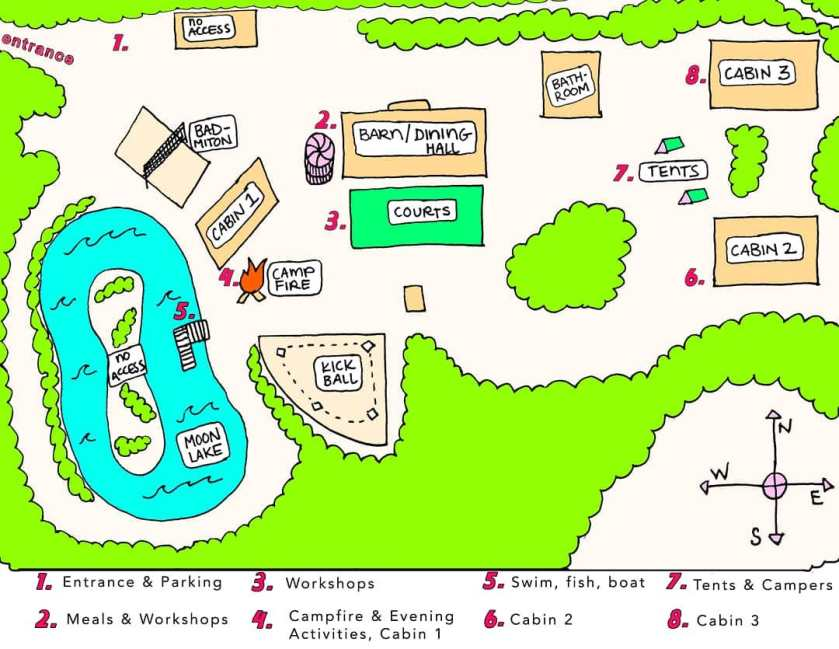Image: Colorful hand-drawn map indicates locations of cabins, dining hall, lake, bathroom, and kickball field at Moonlight Retreat. Image courtesy of Naomi Shersty.
