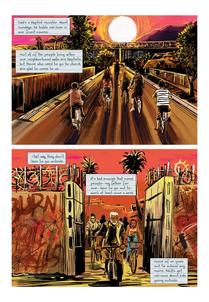"Image: A page from ""Parable of the Sower."" The page features two horizontal panels. The top panel shows a group of people bicycling down a street. The bottom panel shows the group of bicyclers passing through the gate of a fortified wall. Words by Damain Duffy, art by John Jennings. Image courtesy of Damian Duffy."