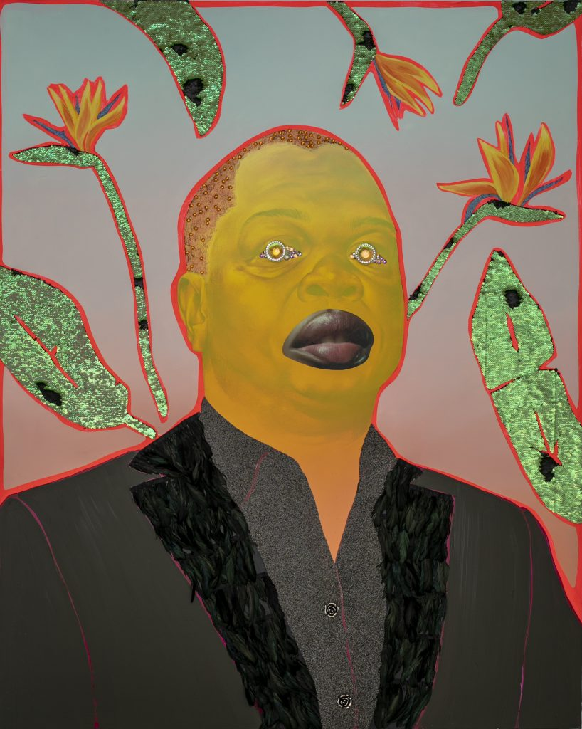 "Image: Devan Shimoyama, ""Kehinde,"" 2018. Portrait of artist Kehinde Wiley. A single male figure is pictured from the chest up. The face is painted yellow, and he wears a black shirt and jacket. In the place of the eyes are colorful, glittery jewels. Behind him are seven leaves and flowers on a background that fades from red at the bottom to blue at the top. Image courtesy of the Smithsonian Institution Traveling Exhibition Service and the artist."