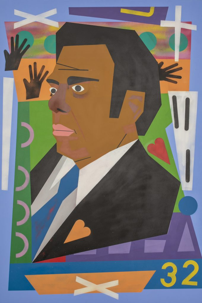 "Image: Nina Chanel Abney, ""Untitled,"" 2018. A portrait of politician Andrew Young. Young is pictured in three-quarters view looking to the left. He wears a black suit and bright blue tie. An orange heart is on the lapel. He is surrounded by brightly colored flat shapes, including hands, a cross, a heart, and the number 32. Image courtesy of the Smithsonian Institution Traveling Exhibition Service, the artist and Jack Shainman Gallery, New York."
