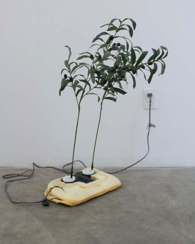 Rachel Youn, Adulators, 2019. Shiatsu foot massager and artificial olive branches. Photo courtesy of the artist.