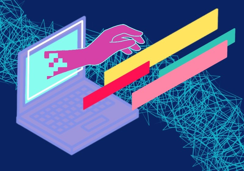 Image: Graphic by Teshika Silver. A computer floating in space with a pixelated hand and different colored stripes comes forth out of the screen.