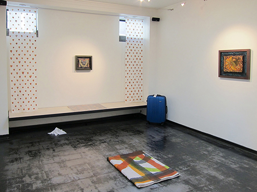 """Image: Installation shot of Iceberg Projects exhibition """"Tony Greene: With works by Elijah Burgher, Edie Fake, Miller & Shellabarger, Paul P., Dean Sameshima, Scott Treleaven, and Latham Zearfoss,"""" April 5 – May 5, 2014. Image courtesy of Iceberg Projects."""