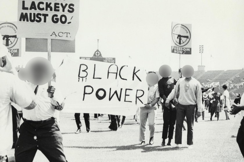 Example of blurring faces using Image Scrubber on a photo from the Black Power movement at the Chicago Freedom Movement Rally, Soldier Field (Freedom Sunday), July 10, 1966. Source: University of Illinois at Chicago Library.