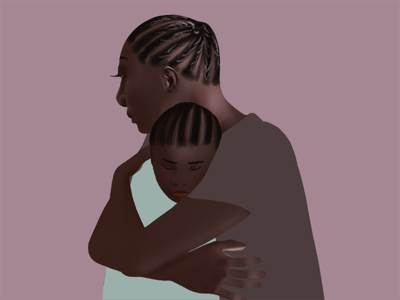 Featured Image: A digital illustration by Kiki Dupont that shows two figures embracing, a mother and child, against a solid dark rose background. The mother figure faces away from the viewer as the child presses into the mother's chest, eyes closed and facing the viewer.