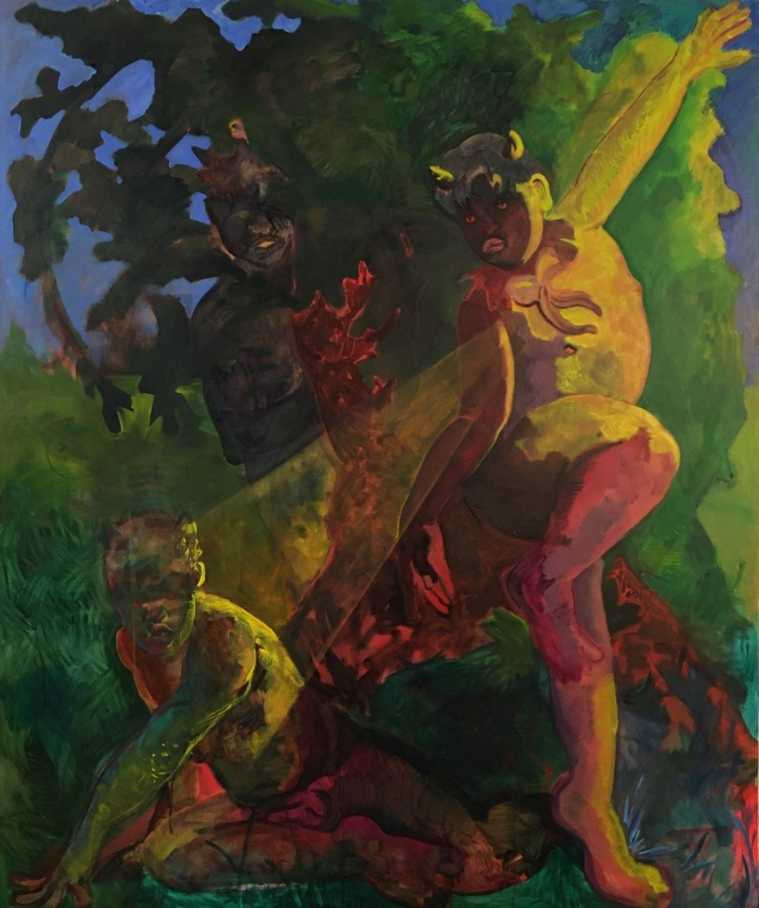 Image: Melting Into The Night, by Ricardo Partida. Three figures are in the center of the painting with a light source shining from the right side. The figures are all posed in varying gestures with the light reflecting blues, yellows, reds, and greens on the figures' skin. Each figure has tiny horns on their hand and are naked. There is foliage in the background and a blue sky. Photo by Ricardo Partida.