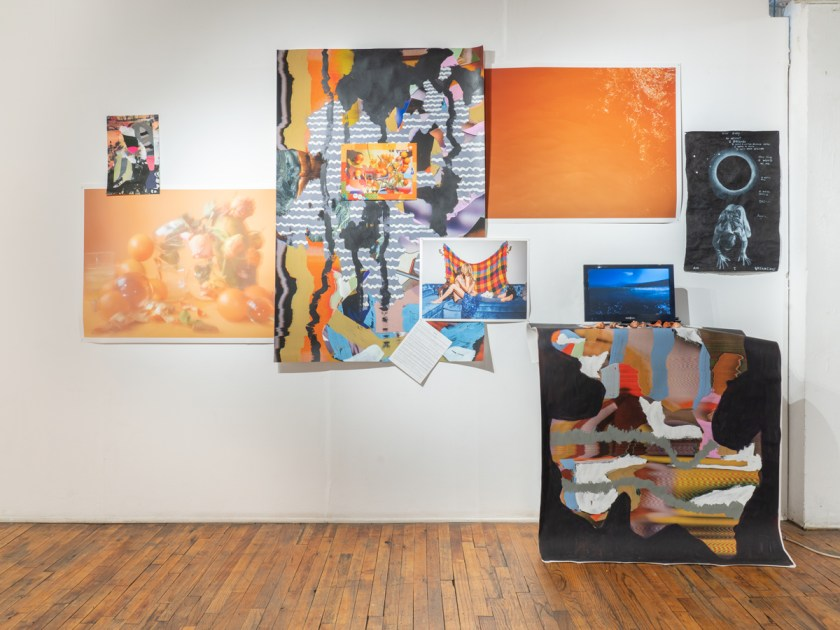 Image: Installation view of a section of the exhibition From a Strange Place at Heaven Gallery. The work includes photographic work by Marzena Abrahamik, dominated by tones of orange. Image courtesy of the artist.