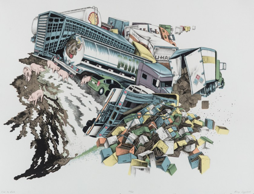 Emmy Lingscheit, Cover the Earth, lithograph with screenprint, 29 x 22 inches, 2016. Semi-trucks of different types are pictured bent and misshaped, all piled together, spilling the contents of their trailers. On the left of the image, there appears to be an oil spill, a milk spill, and pigs spilled from three different tucks. On the center and right of the image are boxes of various colors and what appear to be Amazon.com branded packages. Image courtesy of Emmy Lingscheit.