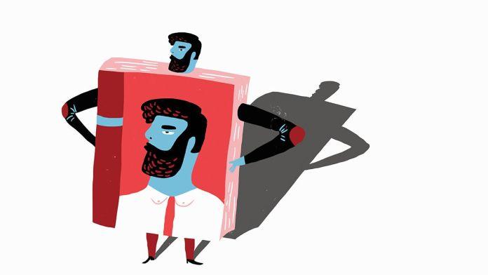 üzerine kitap giymiş olan bir insan illüstürasyon