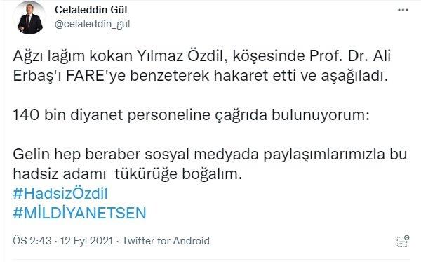 Mil–diyanet sen'den sözcü yazarı yılmaz özdil hakkında skandal açıklama!