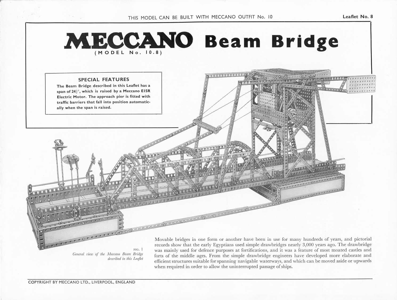 Meccano Plans Anglais De La Boite N 10 Set 10 English