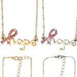 Custom Bling Rhinestone Pink Breast Cancer Awareness Ribbon Link Chain Necklace
