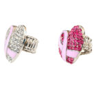 Custom Bling Pink Rhinestone Breast Cancer Awareness Ribbon Heart Ring