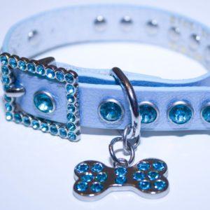 Blue Leather Bling Rhinestone Dog Collar with Bling Doggie Bone Charm