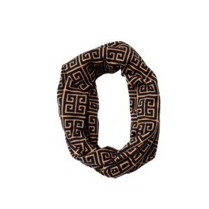 Gold & Black Chain Patterned Fashion Infinity Loop Scarf
