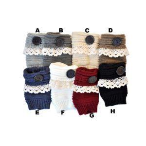 Women's Short Knit Custom Patterned Lace Button Finger-less Gloves: Group Shot