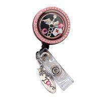 Pink Rhinestone Nurse Hat Charm Locket Badge Reel ...