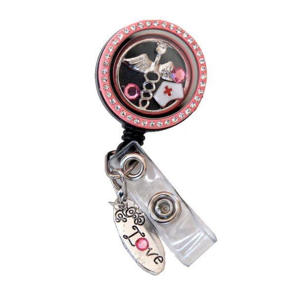 Pink Rhinestone Nurse Hat Charm Locket Badge Reel