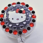 SIZZLE CITY Custom Retractable ID Badge Reels: Hello Kitty Hearts & Bows