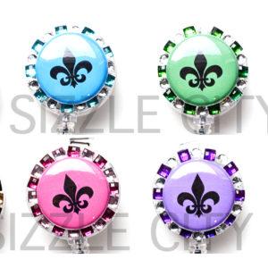 SIZZLE CITY Custom Retractable ID Badge Reels: Fleur de Lis