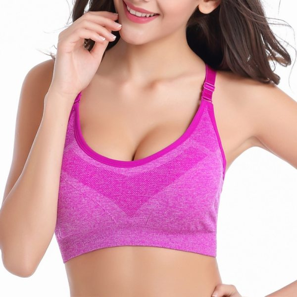 Seamless Adjustable Shoulder Strap Sports Bra