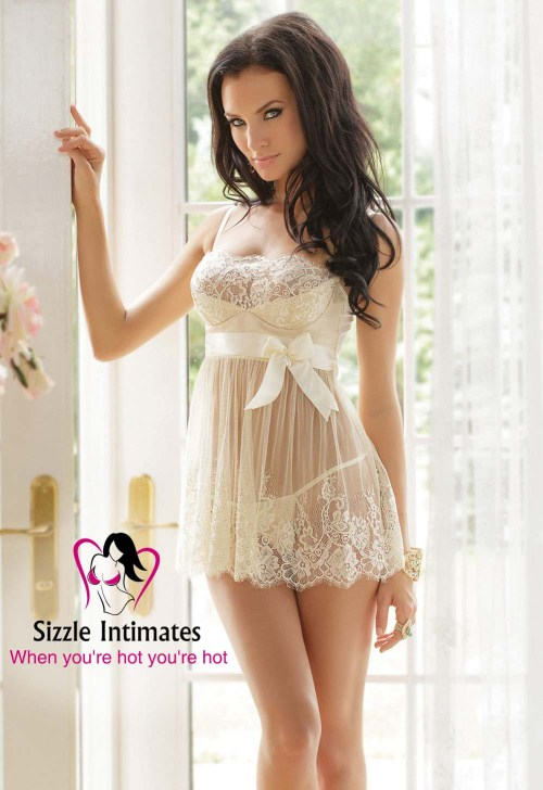 Sexy Womens Camisole Dress - Translucent Nightwear Mini Dress with Underwear