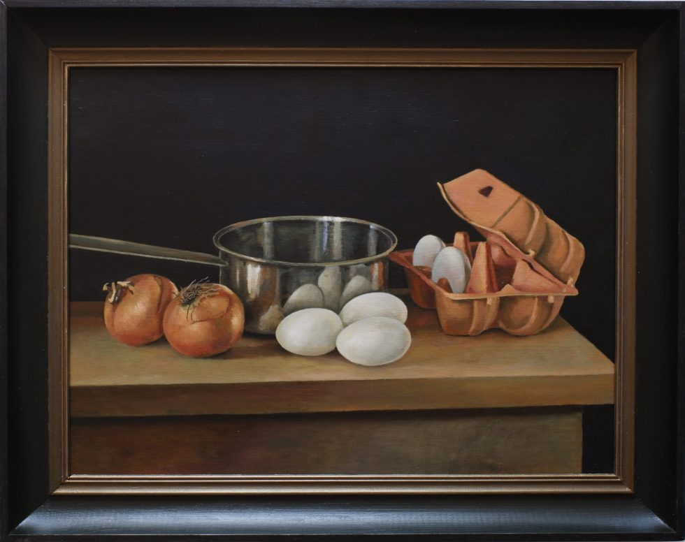 eggs onions table still life painting oil on panel