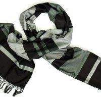 Zijden sjaal, zwart met grijs