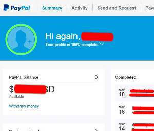 PayPal identity token - personal account snapshot