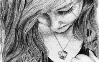 Black and white tonal pencil drawing on paper