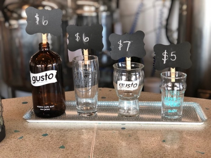 Souvenir glassware available for purchase at Gusto Brewing Company, Cape May County, NJ