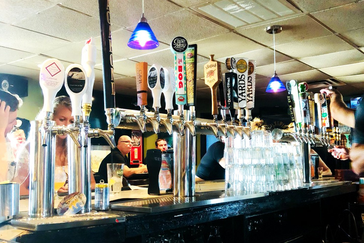 Beer taps at Vagabond Kitchen and Tap House - One of the 5 Best Beer Bars in Atlantic City
