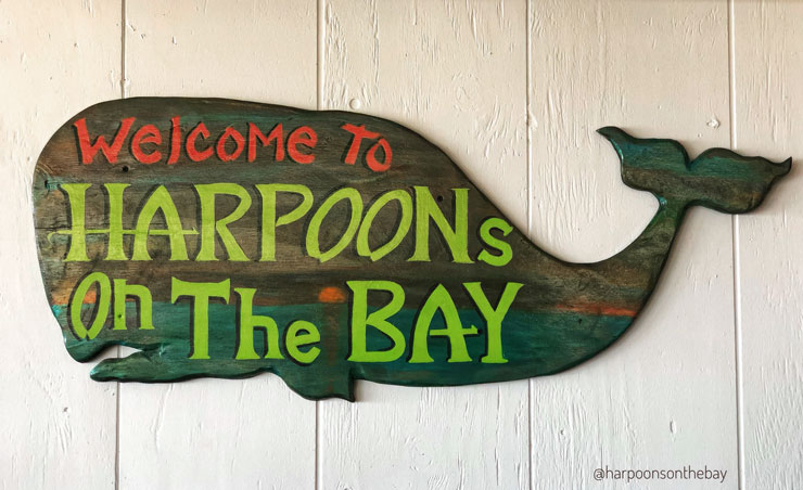 Harpoon's on the Bay - Welcome Whale Sign