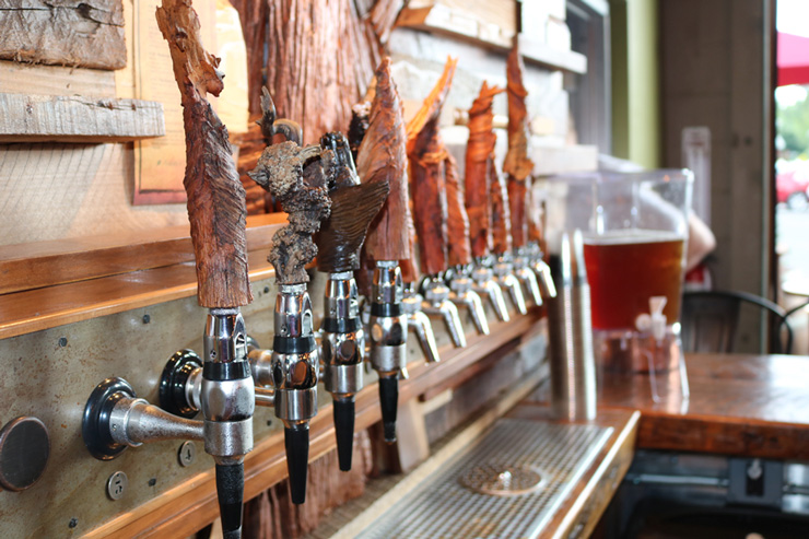 The handmade beer taps at Core3Brewery in Clayton, New Jersey