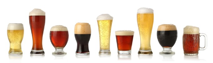 A variety of craft beer styles in their respective glasses