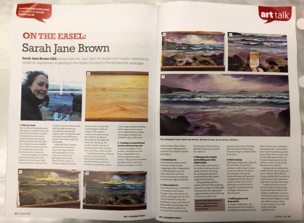 """On the easel"" feature in Art & Framing Today magazine"