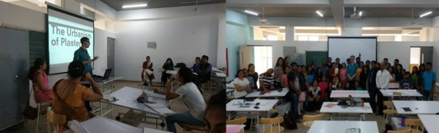 Ar. Curt Gambetta (PhD) from Princeton University met with the Thesis students (8thsemester) in March 2017.He gave a presentation on his research interest, the 'Urbanism of Plaster' and conducted informal discussions with the students.