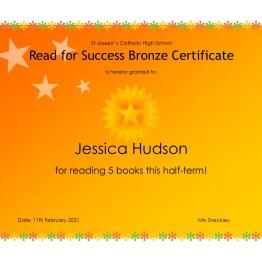 Bronze Certificate - Jessica Hudson