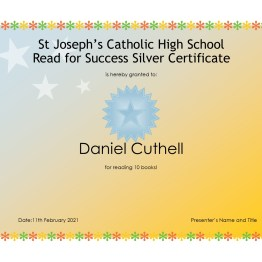 Read for Success Silver Certificate - Daniel Cuthell