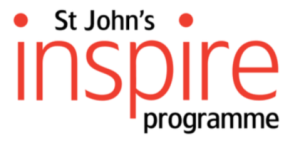 "St John's Inspire Programme logo: ""Inspire"" in large red text, with ""St John's"" and ""programme"" in smaller black text, on a white background"