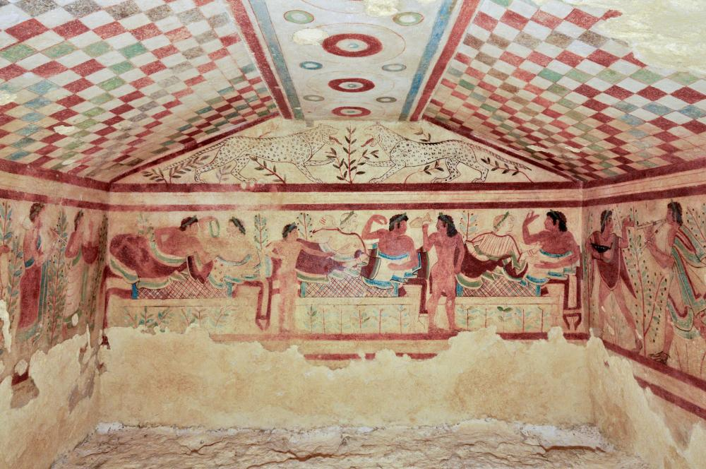 Frescoes, Tomba dei Leopardi, Tomb of the Leopards, one of the Etruscan grave chambers of Monterozzi Necropolis