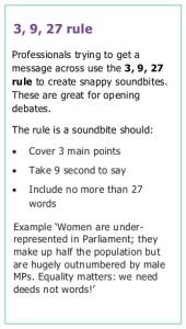 Description of the '3, 9, 27 rule' for creating a soundbite