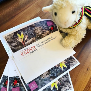 Agnes the Access Lamb prepares flyers for the Year 10 and 11 Inspire Programme
