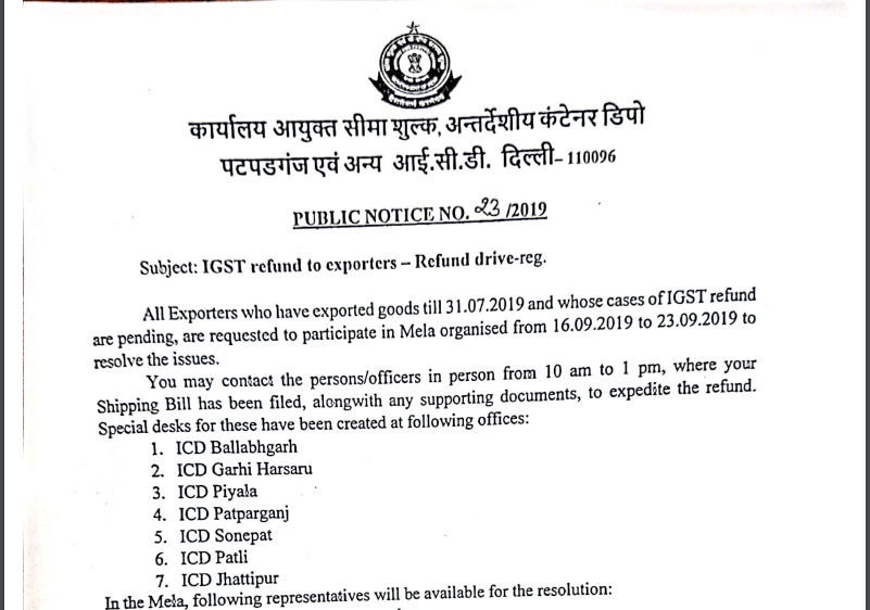 GST Refund Special Drive for Exporters