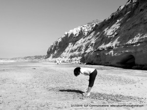 Ninon Reflecting & looking for Sea Glass at Torrey PInes State Beach
