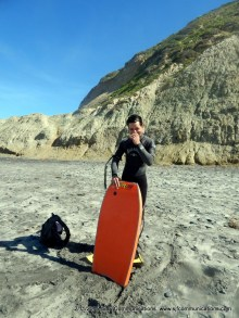 Greg prepping to Boogie Board at Torrey PInes State Beach;SJF Communicationswww.sjfcommunications.com