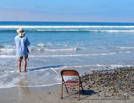 Man Fishing at Torrey Pines State Beach