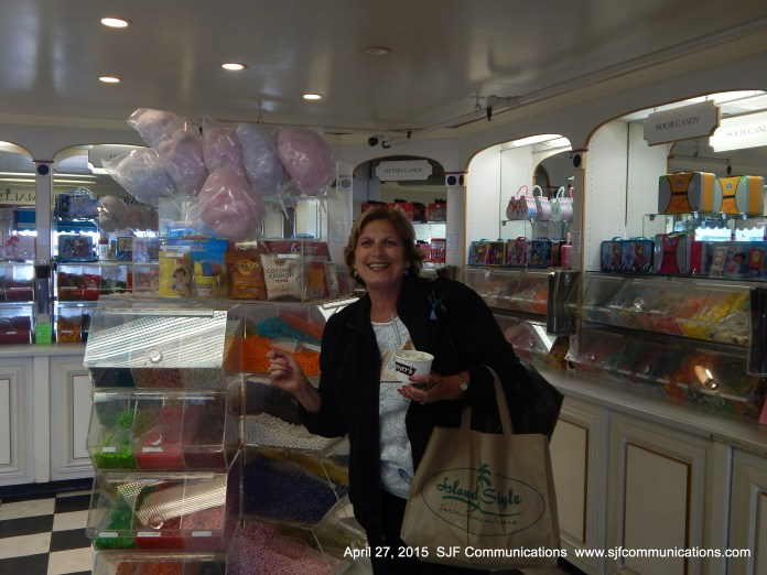 Sampling some delicious ice cream at Lloyd's of Avalon Candy Store