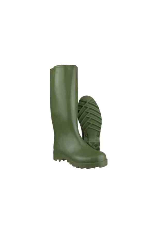 Catalogue image of Nora Dolomite waterproof green olive Wellington boot with deep tractor tread soles